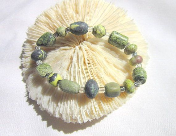 Green Tree Agate Bracelet Stretchy Bracelet  ID 320