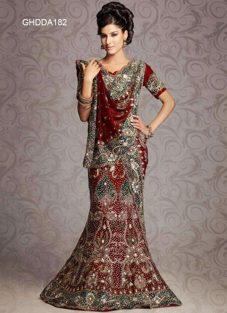 Brick Red Net Bridal Lehengas 8709 With Unstitched Blouse