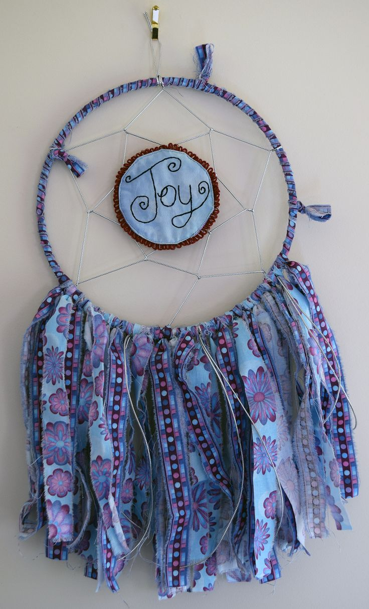 'Joy' Dreamcatcher - Handmade dreamcatcher with machine embroidery accent!  https://www.etsy.com/listing/243637224/joy-dreamcatcher-handmade-machine?ref=shop_home_active_1