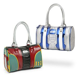 Perhaps too late, ThinkGeek now has a consignment of Star-Wars-themed handbags, in two different styles. Choose Boba Fett or R2-D2 (which means you can still smuggle the plans in a droid, only a more stylish version).