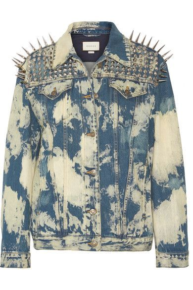 Gucci - Oversized Embellished Bleached Denim Jacket - Mid denim - IT