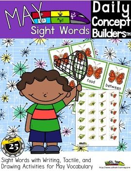 This brand new fun May Sight Words activity is from our Daily Concept Builders program. It uses sight words from the 3rd 100 Fry list 1. Your tactile learners will have a ball manipulating the individual butterfly cycle pieces, and we've included a teacher's guide with extra ideas.   Included: -25 sight words on Butterfly cards - Butterfly Cycle shaped letters to build the sight words - Teacher Guide