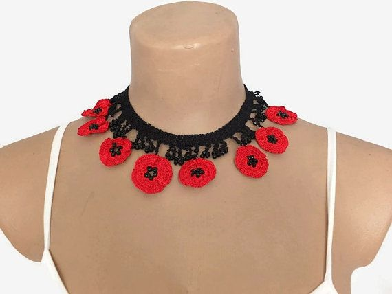 Crochet Necklace Crochet Red Poppy Necklace Red Flower
