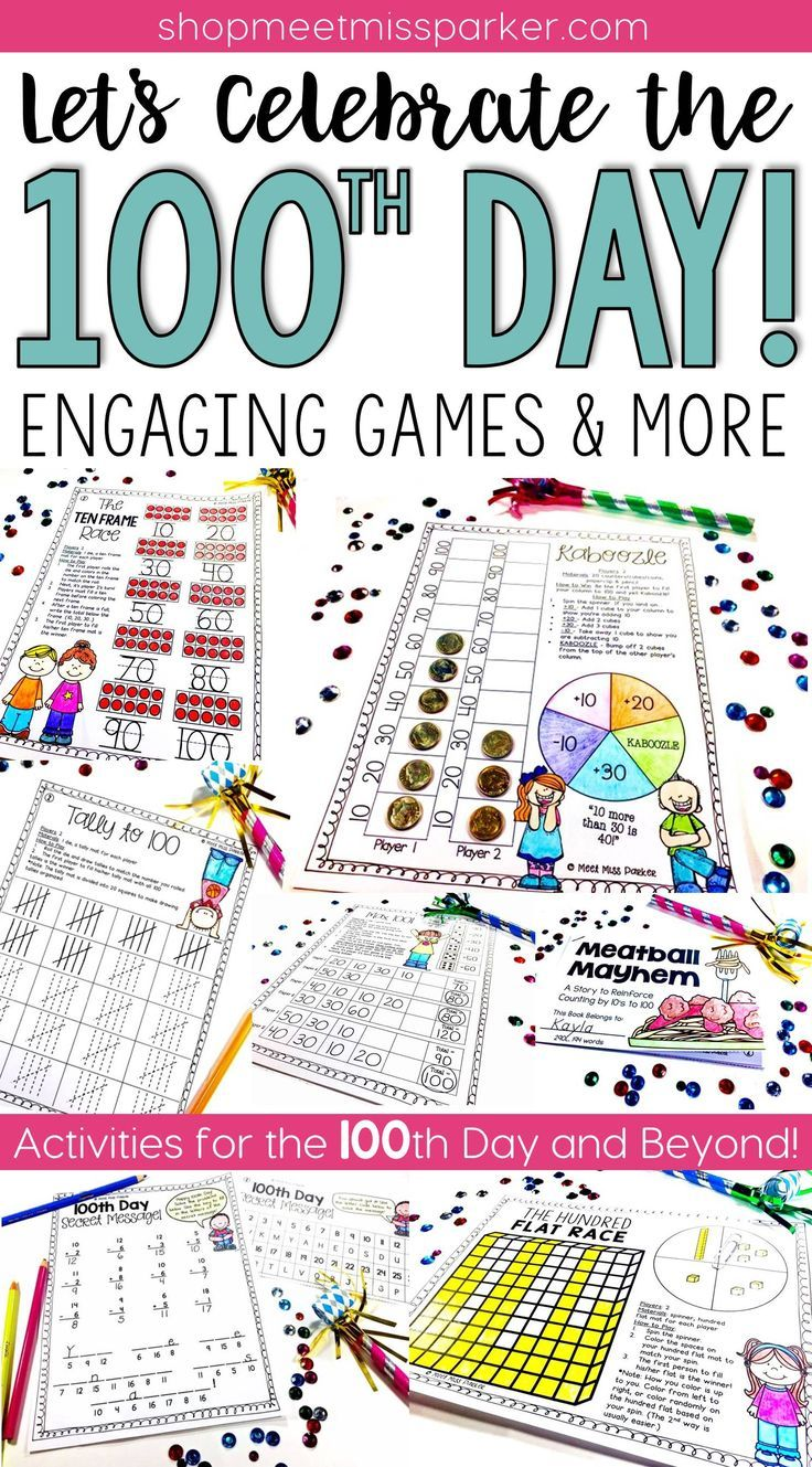 Fun, new ideas for the 100th day of school! These math games and literacy activities are a perfect mix of fun and learning for the 100th day!