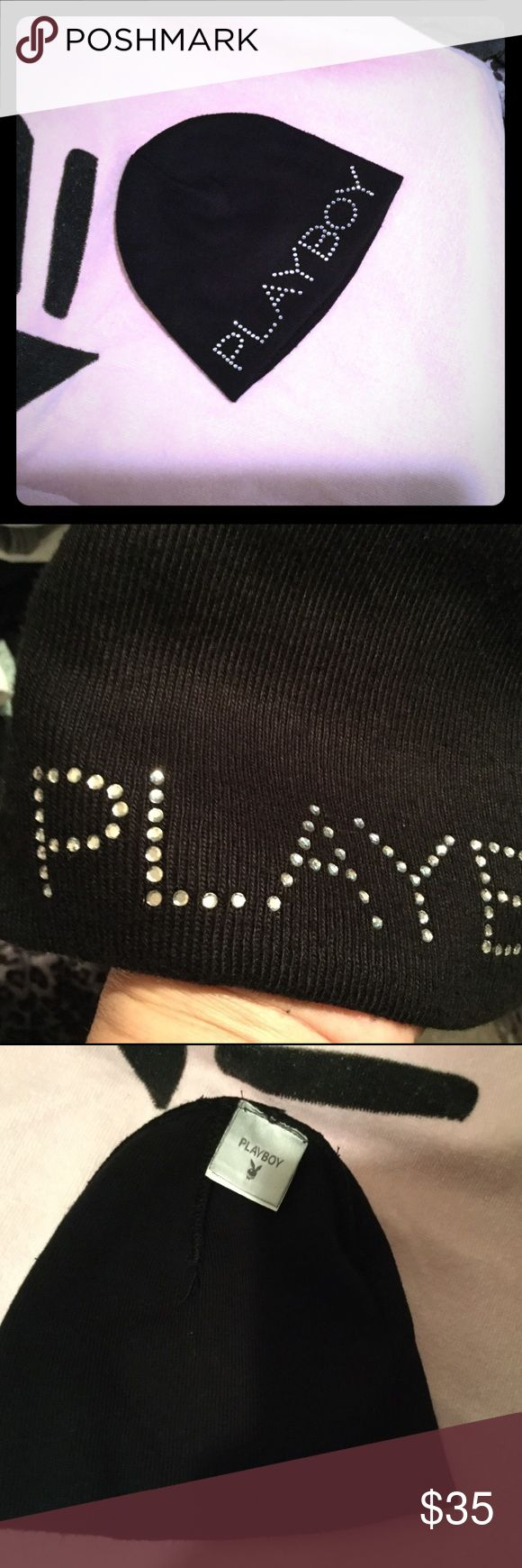 PLAYBOY Bling Beanie Hat in Black 100% Authentic Playboy, purchased from the Playboy Store online about 20 years ago and kept it!  Great condition as you can see and the bling on it is all original from Playboy.  You can see the disclaimer showing the Playboy & Rabbit Head design are marks of and used under License from Playboy Enterprises International, INC.  ONE SIZE Playboy Accessories Hats