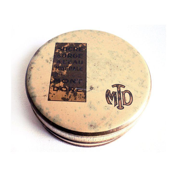 French Barley Sugar Sweet Box, Beige Box, Hard Candy Box, Balneology, Mont Doré, Boiled Sweet Box, Art Deco Tin Metallic Box, Box Collection