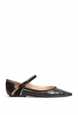 Lucy Choi Black Glitter Oslo Pointed Flat Shoes ... so cute!