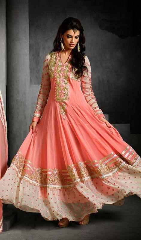 636d30e12b Rose Pink Georgette Flared Long Anarkali Suit Price: Usa Dollar $141,  British UK Pound £83, …   Latest Party Wear Georgette Anarkali Dresses  Collection ...
