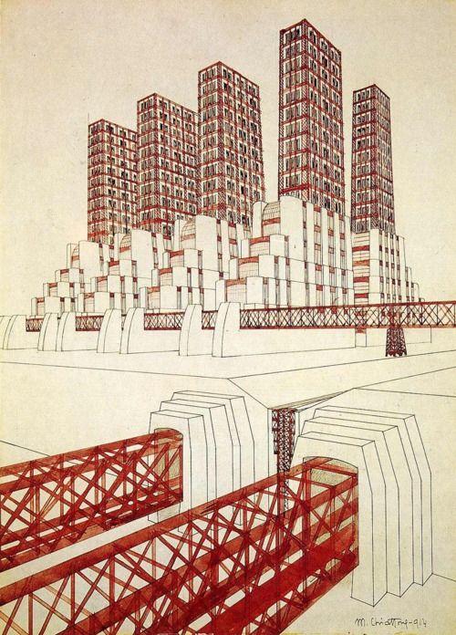 mario chiattone - bridge and study of volumes, 1914