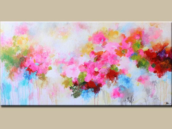 Abstract Painting Original Painting Flower Painting Abstract Flower Acrylic Painting Pink Red Conte Abstract Flower Painting Abstract Painting Abstract Flowers