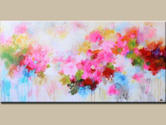 100% pintado a mano  Pintura de acrílico sobre galería envuelto lona con grapas posteriores.   (Gracias por mirar! Pásate por mi tienda para pinturas originales más aquí: http://www.etsy.com/shop/mimigojjang?ref=si_shop ****************************************************************************** Descripción de la obra de arte  Acrílico sobre lienzo -TAMAÑO: 48wx24h x1, pulgadas de 5 d  -MEDIO:... Acrílicos profesionales en lona de algodón 100% en barras de madera de...