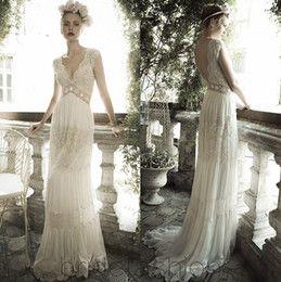 Online Shopping Backless Bridal Wedding Gowns 2015 Vintage A-Line Wedding Dresses Sheer Lace Deep V Neck Bohemia Ruffles Chiffon Beach Wedding Dress 139.48 | m.dhgate.com