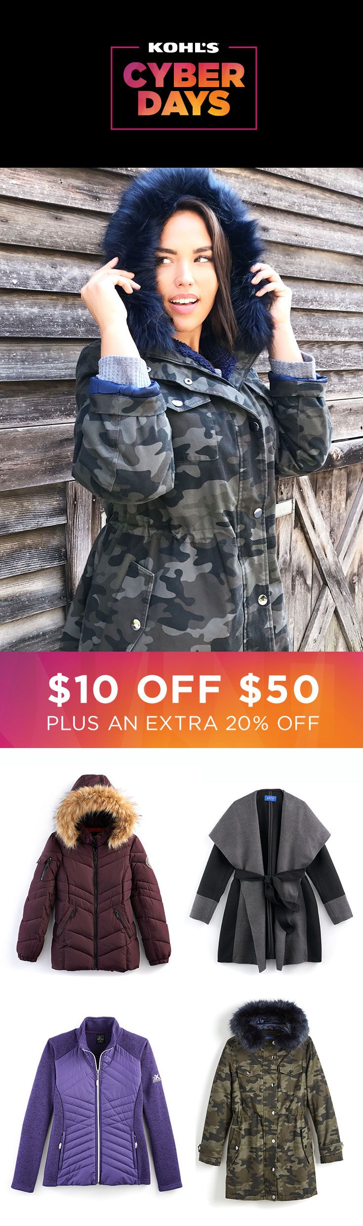 Winter is coming … save on bundling up while you can! Take $10 off your $50 outerwear purchase with promo code TUESDAY, plus take an extra 20% off with promo code BUYNOW20. Shop Cyber Days deals on outerwear at Kohl's. #winter #shopping #gifts