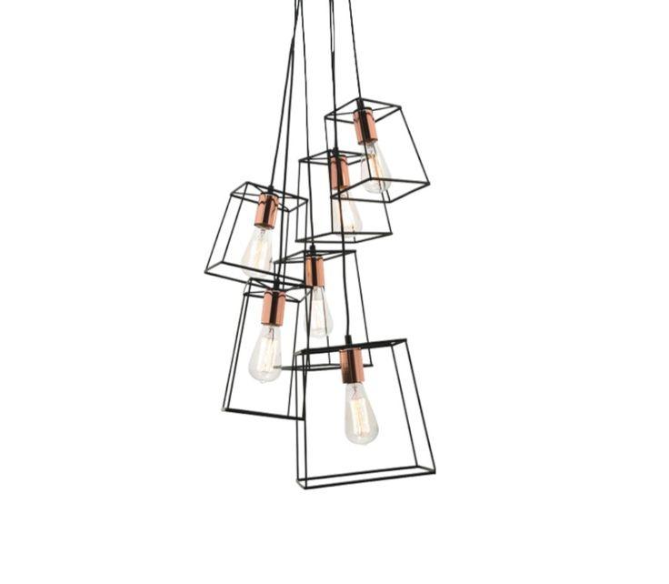 299 Zappa 6 Light Cluster Pendant Black Metal With Lights For Living RoomBlack