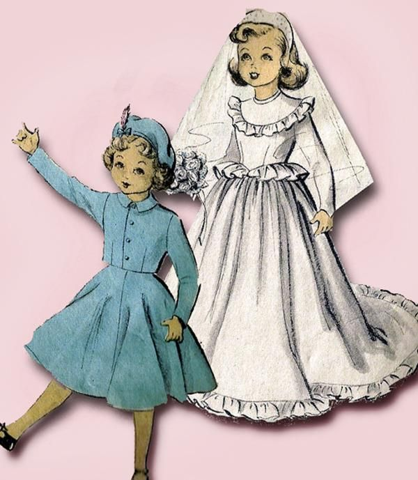 Vintage 1940s Pattern ~ Cloth Girl Doll in Overalls
