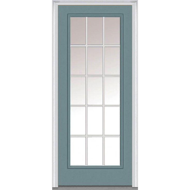 Grilles Between Glass Left Hand Full Lite Classic Painted Steel Prehung  Front Door, Riverway