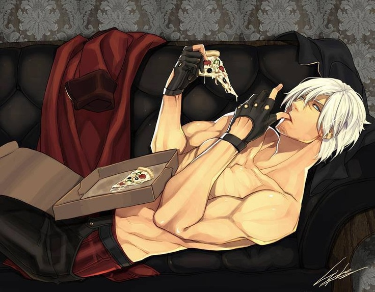 Yaoi ~ Devil May Cry ~~~ Dante is a badass. Dante is sexy. Dante is also a pizza-holic!!