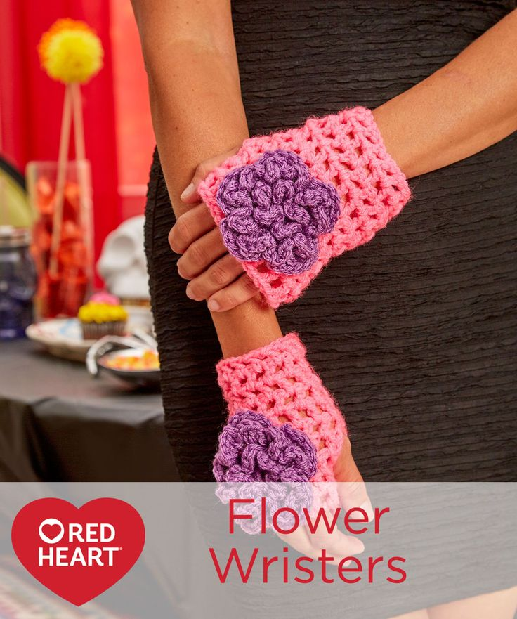 Flower Wristers Free Crochet Pattern in Red Heart Yarns -- Easy crochet wristers were designed as a quick finishing touch to our haunting sugar skull costume (see photo at end of pattern). Mitt is a simple mesh with flowers that coordinate with the headpieces.