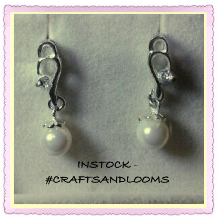 Beautiful #Earrings #Silver 92.5 #pearl white #craftsandlooms - creative@craftsandlooms.com #Instock