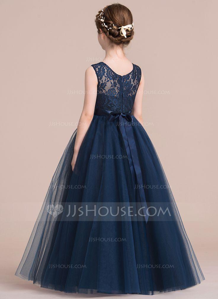 A-Line/Princess Scoop Neck Floor-length Sash Satin Tulle Lace Sleeveless Flower Girl Dress Flower Girl Dress