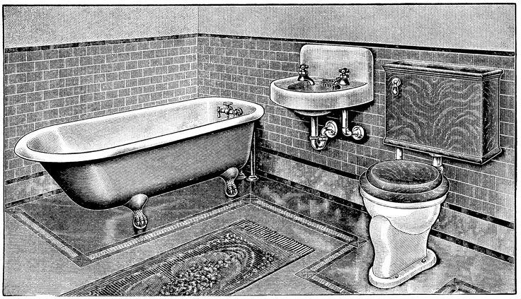 vintage bathroom, bathroom clip art, claw foot tub illus, antique toilet, restroom graphics, black and white clipart