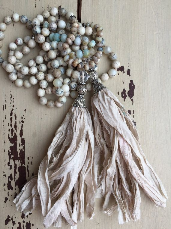 Shabby Chic Boho glam neutral gemstone versatile hand knotted sari silk tassel bohemian style necklace by MarleeLovesRoxy
