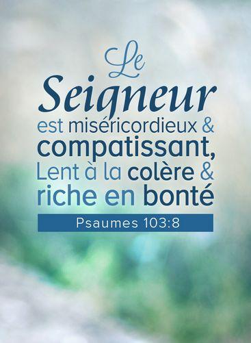 La Bible - Versets illustrés - Psaume 103:8 - Le Seigneur est miséricordieux et compatissant, lent à la colère et riche en bonté.
