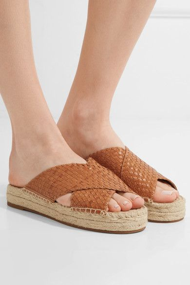 Michael Kors Collection - Destin Woven Leather Slides - Tan - IT37