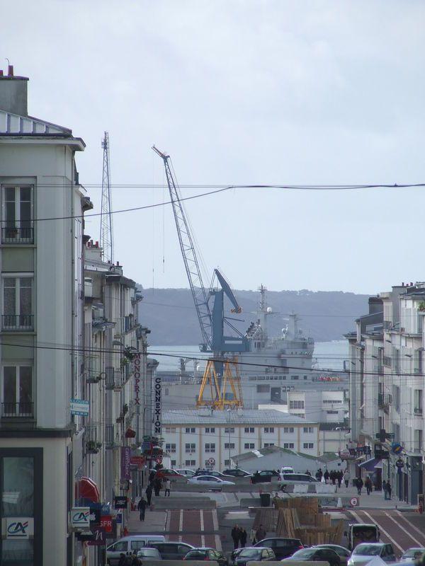 rue de siam pendant les travaux du tram. Brest. Sév