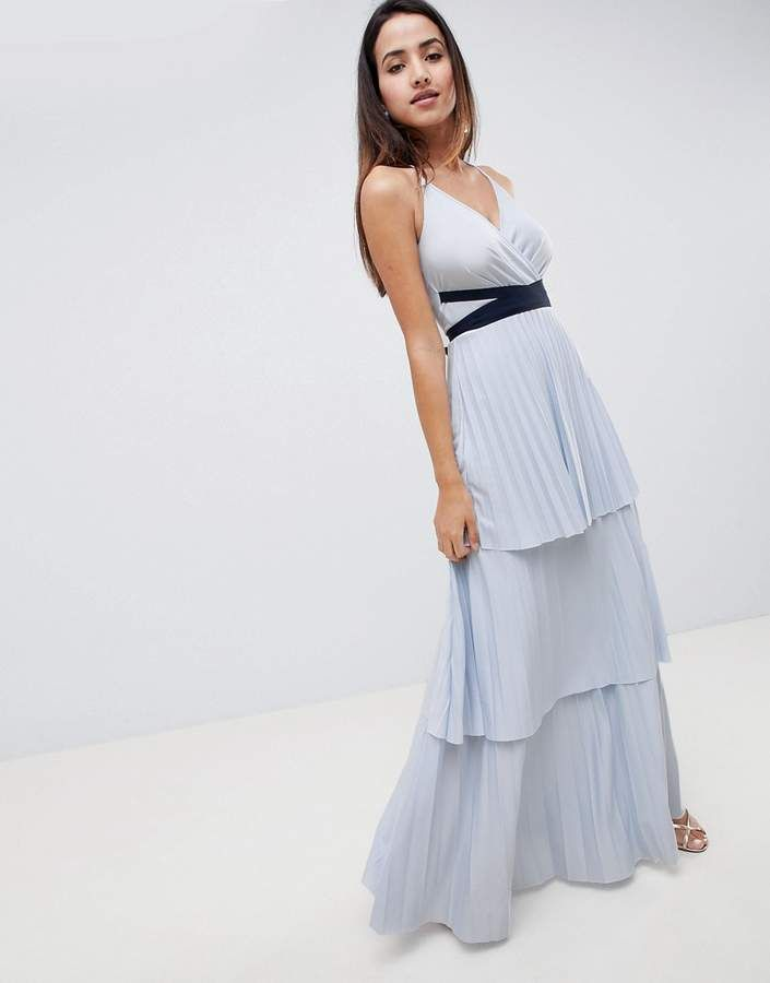 9de72587c8c1 DESIGN tiered pleated maxi dress | Products | Dresses, ASOS, Prom ...