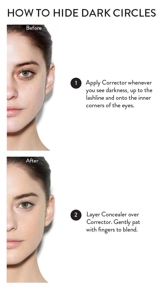 How to hide dark under-eye circles in just two easy steps: Apply the Bobbi Brown Corrector under the eyes and up to the lash line. Follow with the Bobbi Brown Concealer, patting it on with your fingers. This formula is light and not greasy! Love the treatment repair benefits of the Corrector for a plumper and refreshed look.
