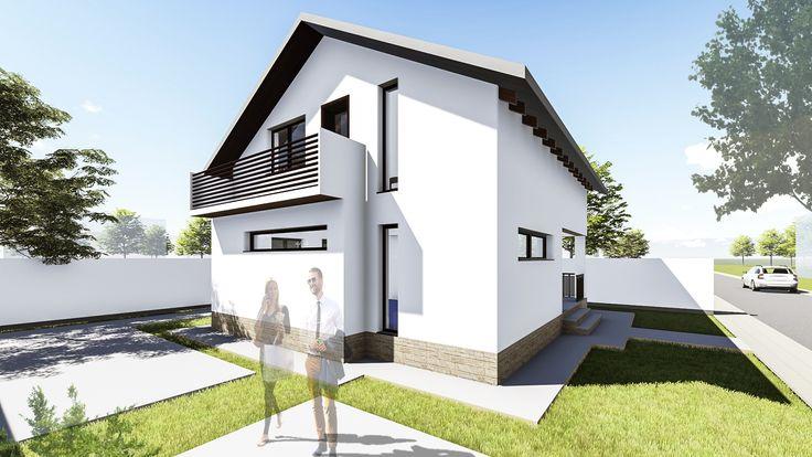 Proiect casa ALLENA. Parter + Mansarda  |  5 camere  |  110mp. Mai multe detalii gasiti aici: http://uberhause.ro/proiect-casa-parter-plus-mansarda-110-m2-allena