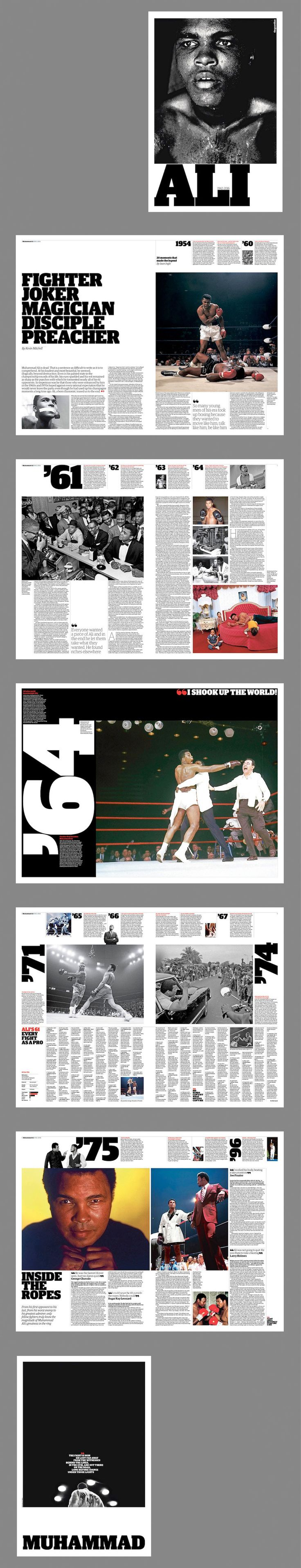 A 12-page Muhammad Ali tribute supplement I designed for the Guardian.