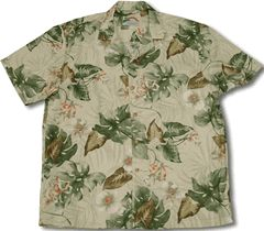 Paradise Found - maker's of fine Hawaiian clothing for over 50 years. 100% Rayon.  Monstera Orchid Men's Paradise Found shirt created in Navy Blue and Beige. MauiShirts search box stock number: MS313