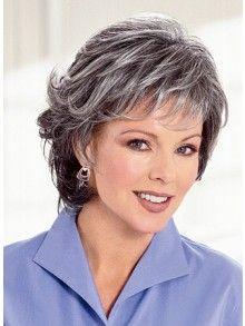 Medium Length Natural Grey Wig For Women