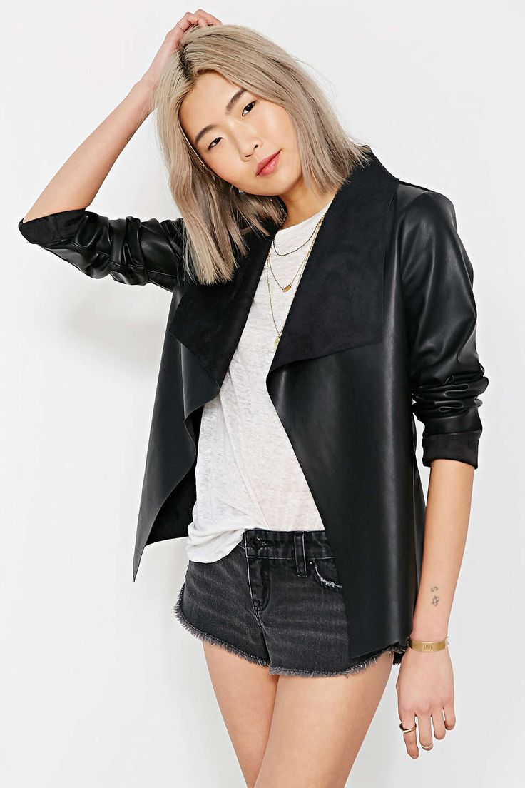 Leather jacket urban outfitters - Urban Outfitters Womens Black Leather Jacket