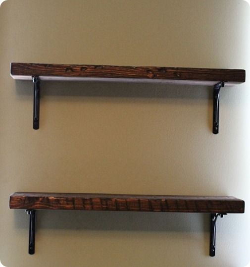 rustic wood shelf brackets | ... by the Reclaimed Wood Shelf and Black Basic Bracket from West Elm
