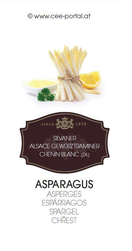 ASPARAGUS ASPERGES ESPÁRRAGOS SPARGEL CHŘEST SILVANER ALSACE GEWÜRZTRAMINER CHENIN BLANC (ZA)