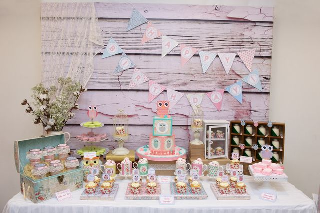Gorgeous dessert table and backdrop at an Owl Birthday Party!  See more party ideas at CatchMyParty.com!