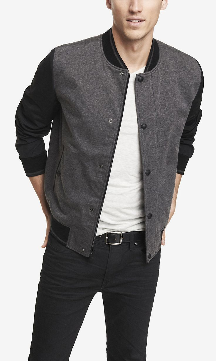 MIXED FABRIC BASEBALL JACKET | Express  I have a jacket like this and its great way to step it up on a casual day/night