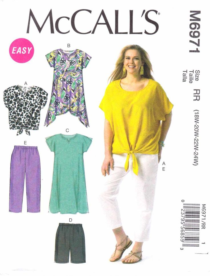 McCalls Sewing Pattern 6971 Womens Plus Size 26W-32W Easy Wardrobe Top Skirt Pants Shorts Shirt  --  Need a different size or pattern? Check out our store www.MoonwishesSewingandCrafts.com for 8000+ uncut sewing patterns all sizes and styles!