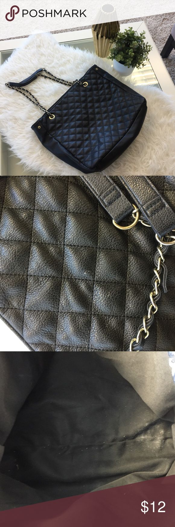 Large Black Tote Large black tote bag with black and gold chain straps. Perfect for putting your laptop in, makeup bag, or stuffing some clothes in there for a night away from home! Please see pics of light wear, but very good condition. Forever 21 Bags Totes