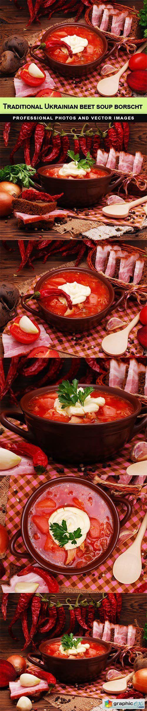 The traditional Ukrainian beet soup borscht  stock images