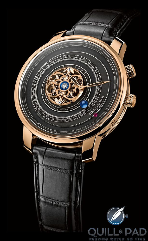 Graham Geo. Graham Orrery Tourbillon in pink gold with dark dial