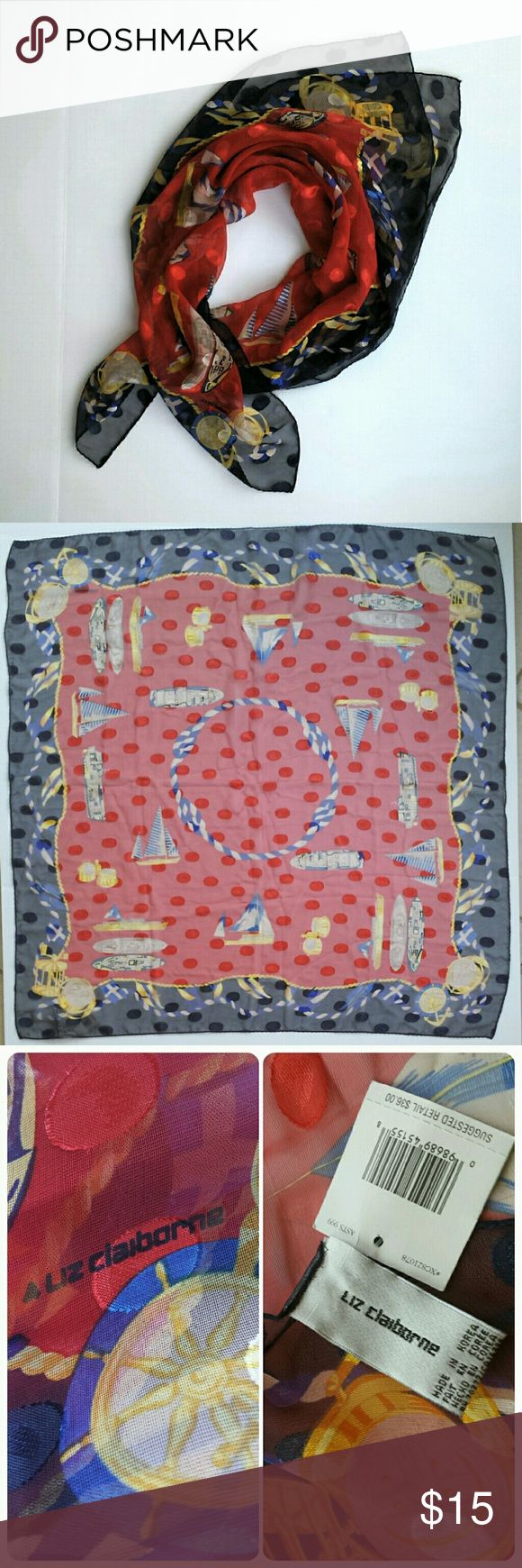 """Vintage Nautical Scarf - Liz Claiborne Ships Ahoy! This beautiful polyester chiffon scarf is covered with yachts and everything nautical. Red, navy, blue, ivory, and gold. Nice large size... 34"""" square. 80s vintage with tags. Machine hem. Never worn, but has a couple of small snags in the blue areas that will not show when worn (see last photo.) Priced with this condition in mind.  Bundle any two items for my 20% discount and to save on shipping Liz Claiborne Accessories Scarves & Wraps"""
