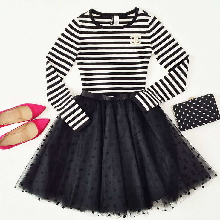 Black Polka Dot Tulle and Stripes. Needs red or yellow shoes ...