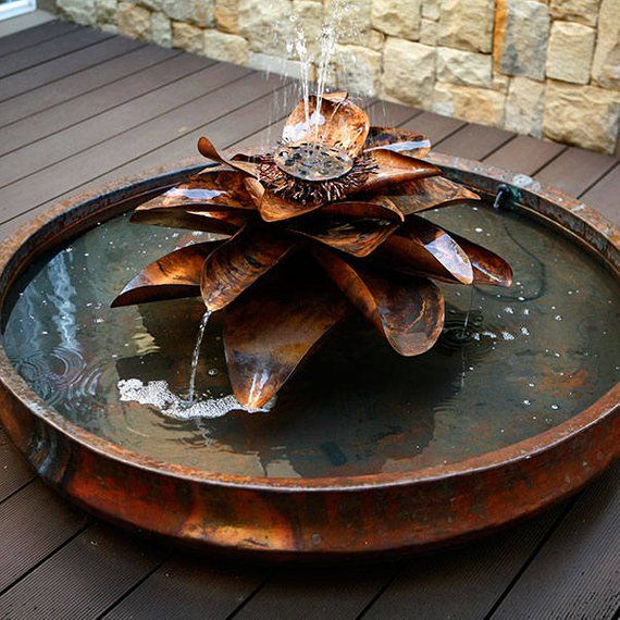 Hand Made Copper Lotus Flower Outdoor Water Fountain Sculpture