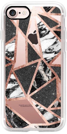 Casetify iPhone 7 Classic Grip Case – Modern Geometric Triangles in Faux Rose Go…