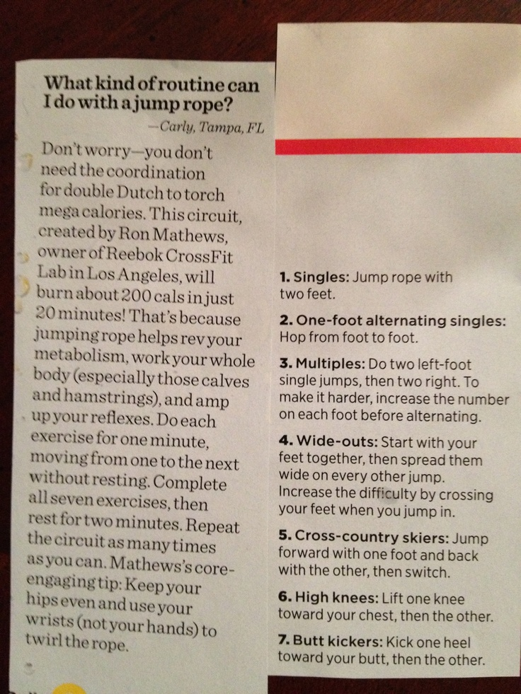 Jump Rope Routine (Women's Health Magazine) -- NEED this to prep for Blonde!