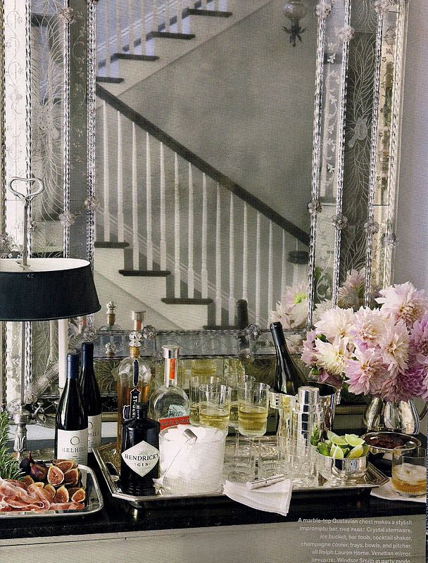 Host A Cocktail Party. Cocktails and appetizers on the buffet. Interior Design & Styling: Windsor Smith.